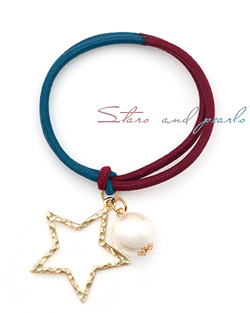 星そして真珠ヘアひも(hs313)