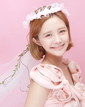 ピンクの花花冠ヘアバンド(hb641)